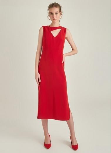 Ng Style Pencere Detaylı Midi Elbise Kırmızı
